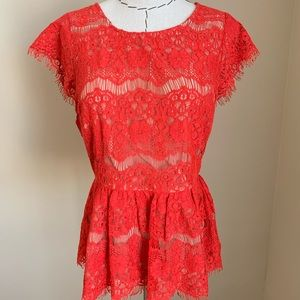 Anthropologie Maeve Bright Red Lace top Medium